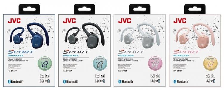 JVC Truly Wireless Sport Headphones with Charging Case - Black (HAET45TB)